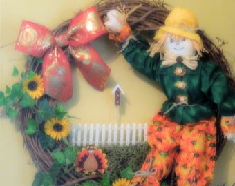 Fall Grapevine Scarecrow Wreath