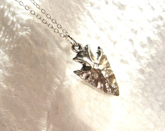 Dainty Sterling Silver Necklace with Sterling Silver Arrowhead charm - Arrow necklace - pendant necklace