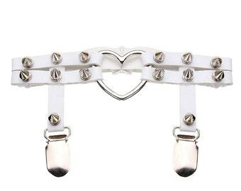 Studded Garter for Thigh High Stockings, spikes & heart o-ring, WHITE