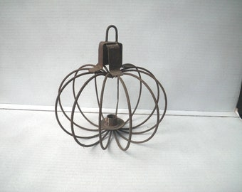 Rusty Wire Globe Hanging Candle Holder