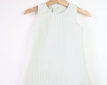 A-line Shift Dress in Blue and White Stripe