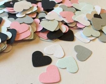 Mariage de Confetti, confettis coeurs, rose noir menthe confettis coeur blanc, décorations de douche, 1er confettis d'anniversaire, saupoudrer de la table, bébé