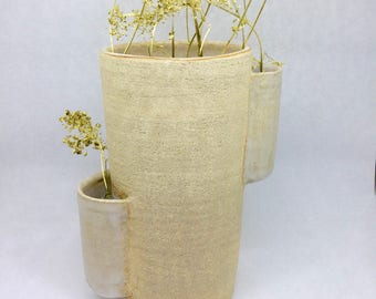 Turned stoneware vase thrown stoneware vase