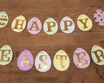 Happy Easter Banner Easter Bunting Easter Decorations Happy Easter Garland Easter Egg Bunting Easter Egg Decoration Spring Decorations