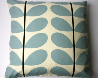 Scandinavian style large stem cushion in blue and cream