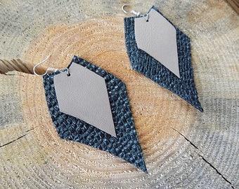 Embossed dark green Leather earrings, genuine leather earrings, long earrings, leather jewelry,  lightweight earrings,
