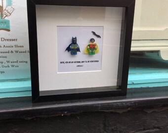 1950s Batman & Robin best friends gift, Adam West Batman. Best friend gift frame, shadow box, wall art