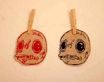 Monster Face Screen Printed Patches