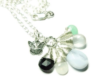 Sterling Silver Gemstone Necklace- Your custom choice of  any gemstones and sterling pendant, charm, Birthstone Necklace, Mothers Day gift