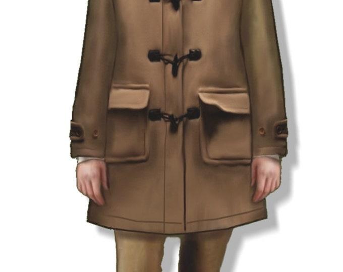 Women's duffle coat, small size pattern (44), in PDF file A4 format