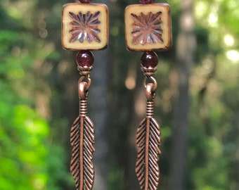 Copper and garnet feather earrings, unique feather earrings, copper feather earrings, garnet earrings