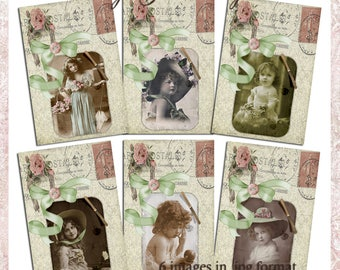 Vintage Girls Tags 1 - Vintage Victorian Style Tags