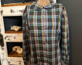 Vintage 1980's Peter Pan Collar Plaid Button Down Blouse / Womens S M L