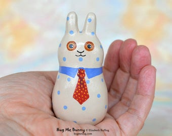 Handmade Bunny Rabbit Figurine, Miniature Bunny Rabbit Sculpture, Lt Taupe, Blue, Red Hug Me Bunny, Animal Charm Figure, Personalized Tag