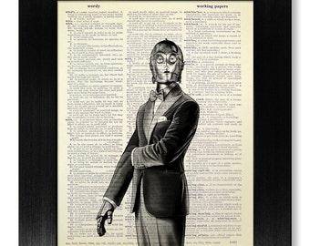 Home OFFICE Decor, DORM Wall Decor, Dictionary Art Print, Dictionary Paper, College Graduation GIFT Man Him Boy, Star Wars Poster, c3po Suit