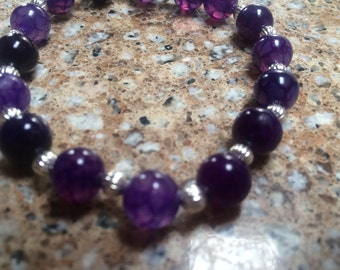Stretchy Purple Quartzite Beaded Bracelet