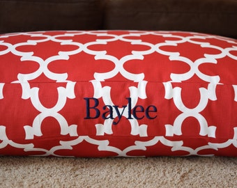 Quatrefoil Dog Bed || Red Moroccan || Embroider your Pups Name || Medium Large || Custom Personalize Pillow Cover || NC Made