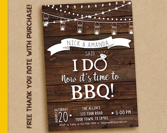 Elopement invitation, We said I do, I do bbq invitation, I do bbq, I do bbq wedding invitation