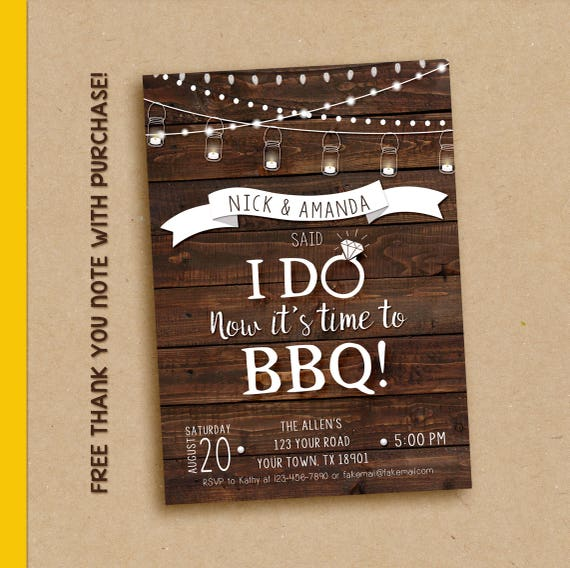 Elopement Invitation We Said I Do I Do Bbq Invitation I Do