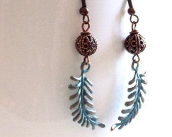Fern Leaf Earrings - Teal and Copper Earrings, Nature Jewelry, Leaf Earrings