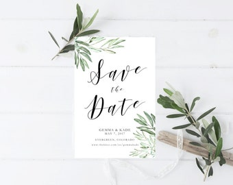 Printable Olive Leaves Save the Date, Olive branch save the date template, romantic, whimsical, botanical, olive leaf, script, greenery