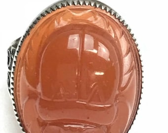 ON SALE Sterling Silver Carnelian Scarab Ring Filigree Band Egyptian Revival Carved Front and Back