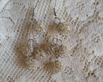 Silver Snowball Dangle Earrings So Unique and So Adorable