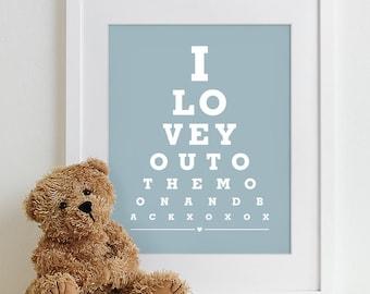 Baby Nursery Art Print Eye Chart - typography poster nursery prints kids room decor nursery wall art boy girl baby gift - Moon And Back