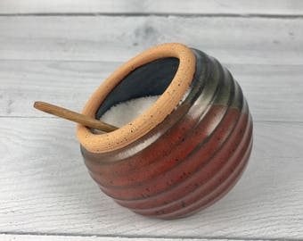 Salt Cellar, Salt Pig, Salt Jar, Salt Container with Wooden Spoon, Tri-Color Glaze Glaze, Gourmet Salt or Herb Jar
