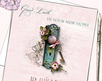 Personalised Good Luck New Home Card Vintage Keyhole