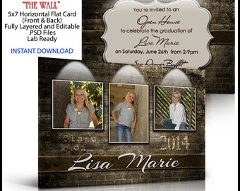 2017 Senior Invitation 5x7 Flat Card Photoshop Template THE WALL. Ceremony announcement invite for high school graduation. Professional.