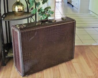 Vintage Samsonite Suitcase, Vintage Samsonite Luggage, Samsonite Hardside Luggage, Brown Suitcase, Embossed Croc Alligator Luggage