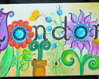 Name art, Personalized Custom Name Painting, Flower Garden Art, Nursery Girly Tween Teen art