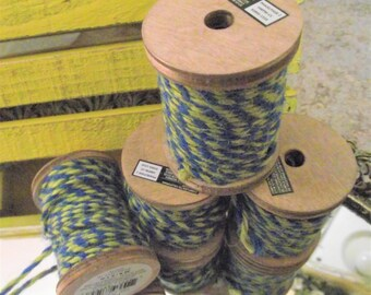 30 FT BAKERS TWINE,Blue and Yellow Baker's Twine,String,Cord,Twine,Wrapping Twine,Packaging,Striped Twine,Heavy Duty Twine,Craft Supplies