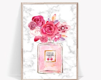 coco chanel art print, flower chanel wall art, watercolor cc perfume poster, marble printable art, cc no5 print, pink blush chanel, make up