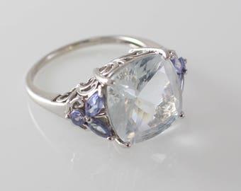 Vintage CJI Candela 14k White Gold Candela Feminine Aquamarine ring size 9.25