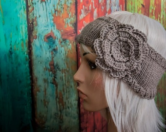 MADE TO ORDER - Custom Knit Headband with Detachable Flower
