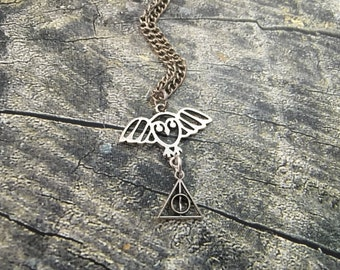 Sale! Harry Potter Hedwig deathly hollows necklace