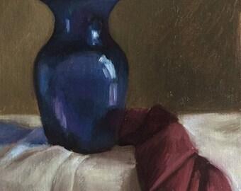 Petite Original Daily Oil Painting, Blue Vase, Realism, Still Life
