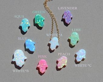 Opal hamsa necklace - hamsa necklace - good luck charm - hand of god - kaballah - gold hamsa necklace - silver hamsa necklace
