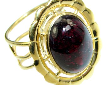 Garnet Sterling Silver Ring - weight 11.20g - Size adjustable - dim L - 1, w - 7 8, T - 1 4 inch - code 18-kwi-17-2