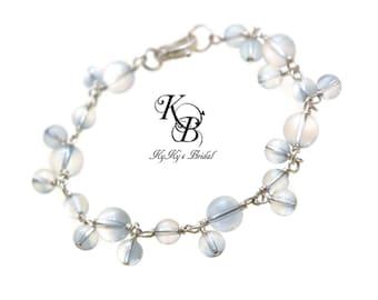 Something Blue Bracelet, Crystal Bridal Bracelet, Blue Bracelet, Bridal Shower Gift, Sterling Silver Bracelet, Crystal Bridal Jewelry