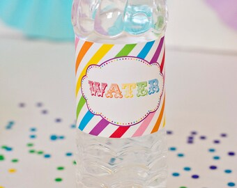 Rainbow Party Water Bottle Labels - Printable