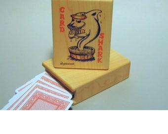 Wood card shark playing card box