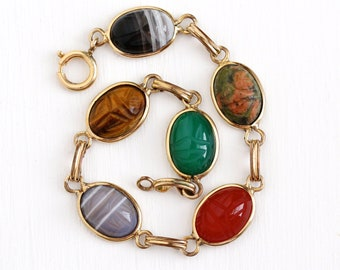 Vintage Scarab Bracelet - Retro 12k Rosy Yellow Gold Filled Carved Gem Panels - Retro 1950s Colorful Agate Beetle Egyptian Revival Jewelry