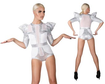 Sample Sale; Space Bride Bodysuit, Holographic, White Bodysuit, Festival Playsuit, EDC Outfit, Rave Clothes, Futuristic Clothing, LENA QUIST