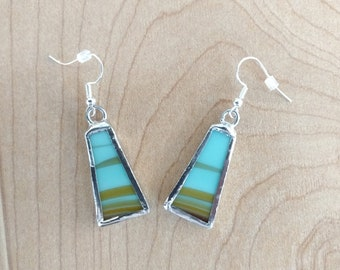 Stained Glass Earrings, Turquoise Blue and Brown Glass Earrings, Glass Jewelry, Dangle Drop Earrings, Boho Earrings, Southwestern