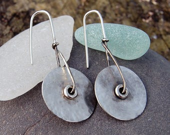 Textured Sterling Silver Dangling  Earrings Drop Earrings Hammered Oxidised Silver Minimalist Earrings
