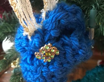 Hand made knitted Christmas ornament
