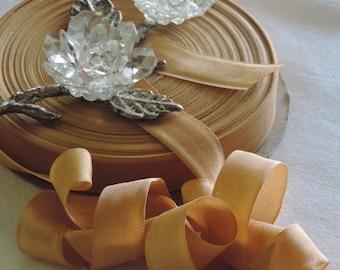 2 Yds.Vintage Lawrence Schiff Silk Mills Woven Edge Rayon Ribbon/Seam Binding/Supplies/Crafts/ Scrap booking/ Light Bronze